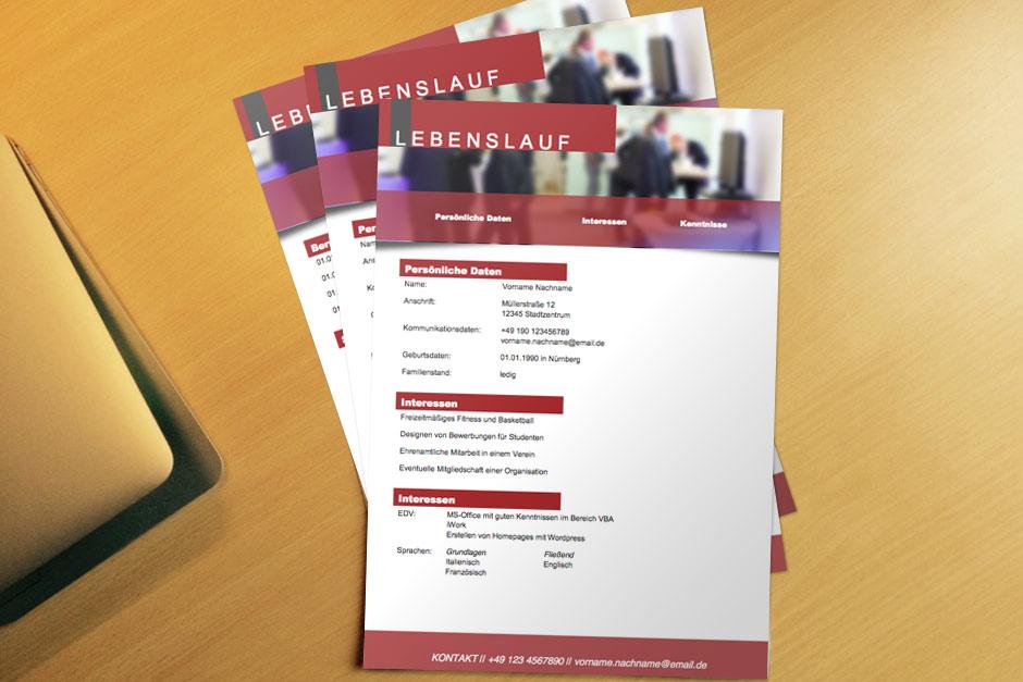 Bewerbung Bewerbungsvorlage Flyer Red Lebenslauf
