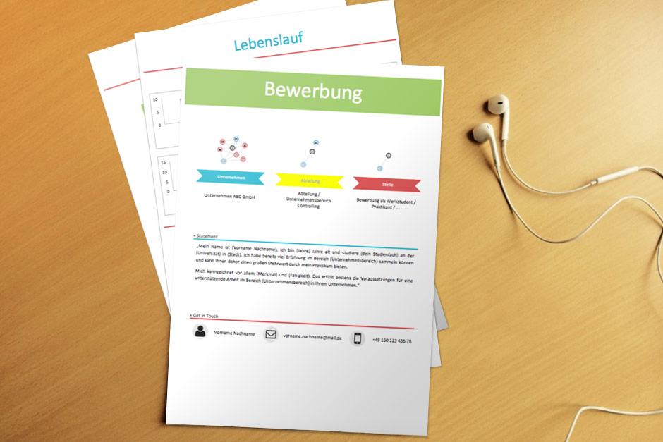 Bewerbungsvorlage Colored Infografik
