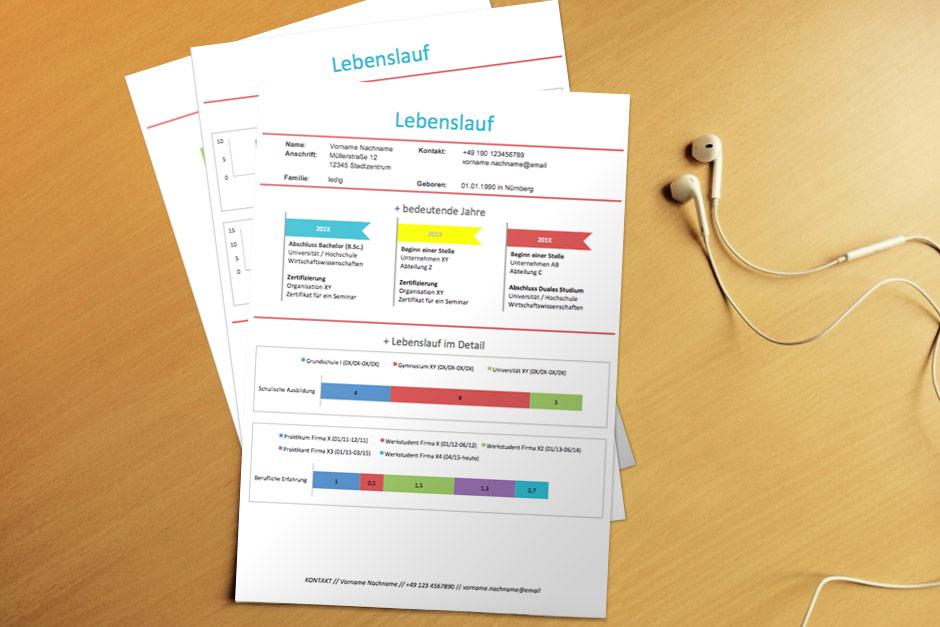 Bewerbungsvorlage Infografik Colored Lebenslauf 1