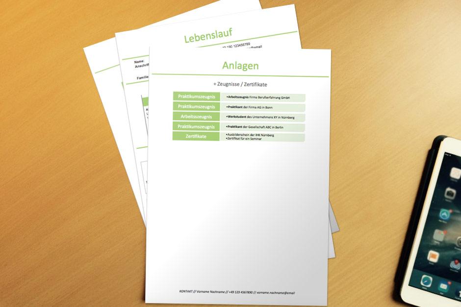 Bewerbungsvorlage Infografik Green Anlagen
