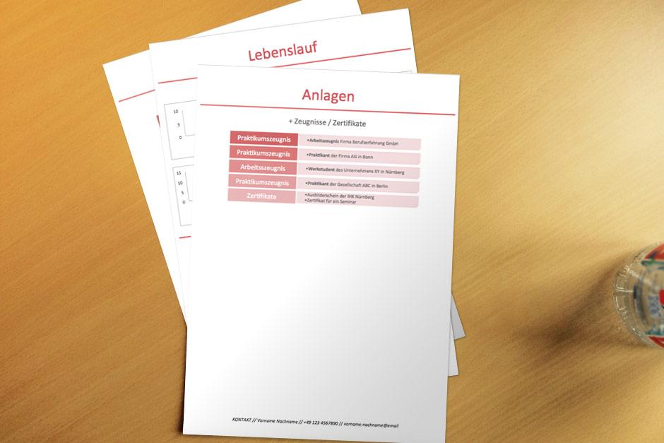 Bewerbungsvorlage Red Infografik Anlagen