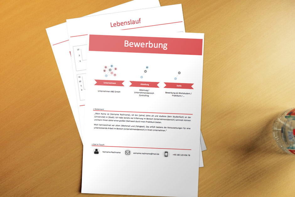 Bewerbungsvorlage Red Infografik