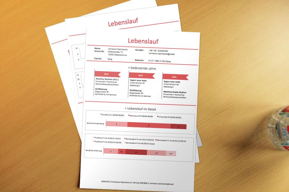 Bewerbungsvorlage Red Infografik Lebenslauf