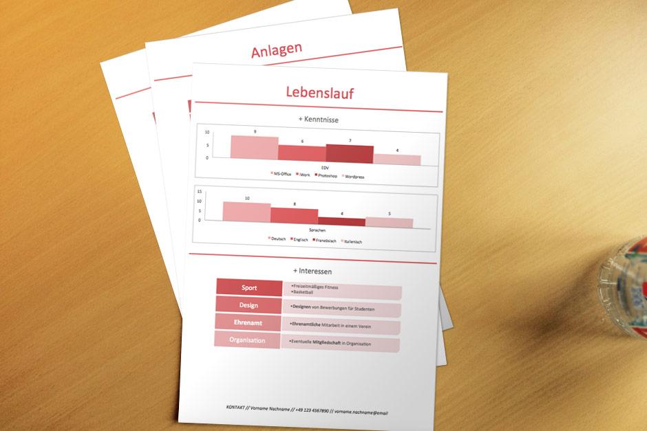 Bewerbungsvorlage Red Infografik Lebenslauf 2