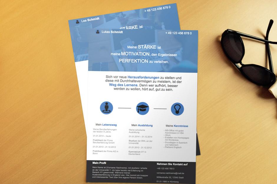 Bewerbungsvorlage OnePage Blue