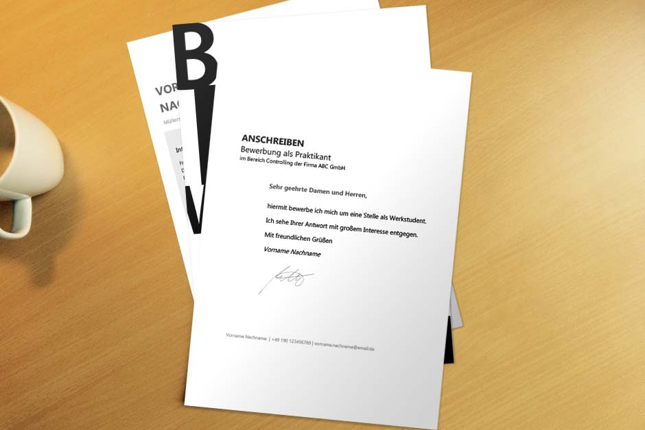 Bewerbungsvorlage Black Letter