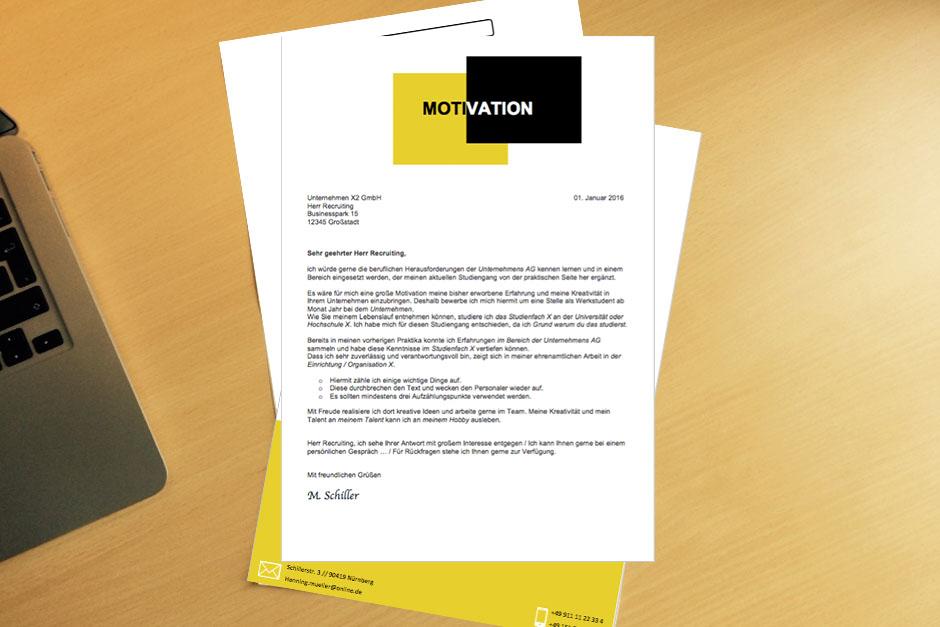 Bewerbungsvorlage Hello Black Yellow