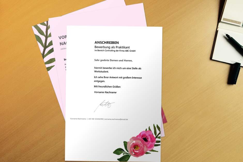 Bewerbungsvorlage Pink Flower