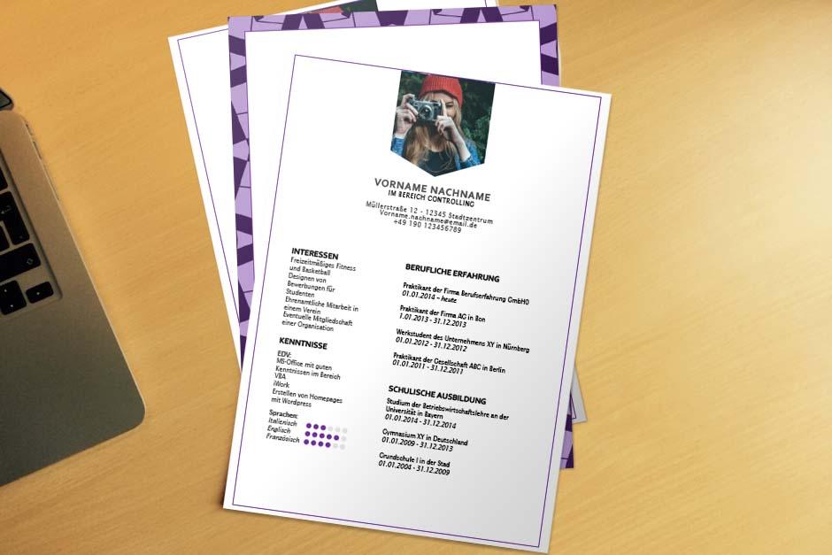Bewerbungsvorlage Purple Pattern