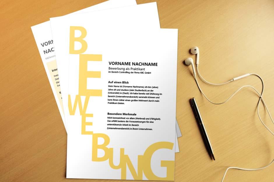 Bewerbungsvorlage Yellow Letter