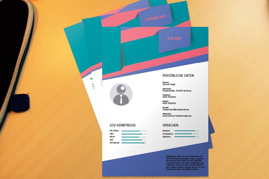 Bewerbungsvorlage Blue Folded