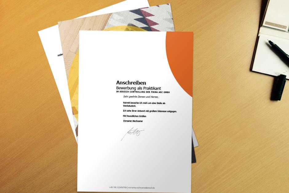 Bewerbungsvorlage Orange Creative Mind