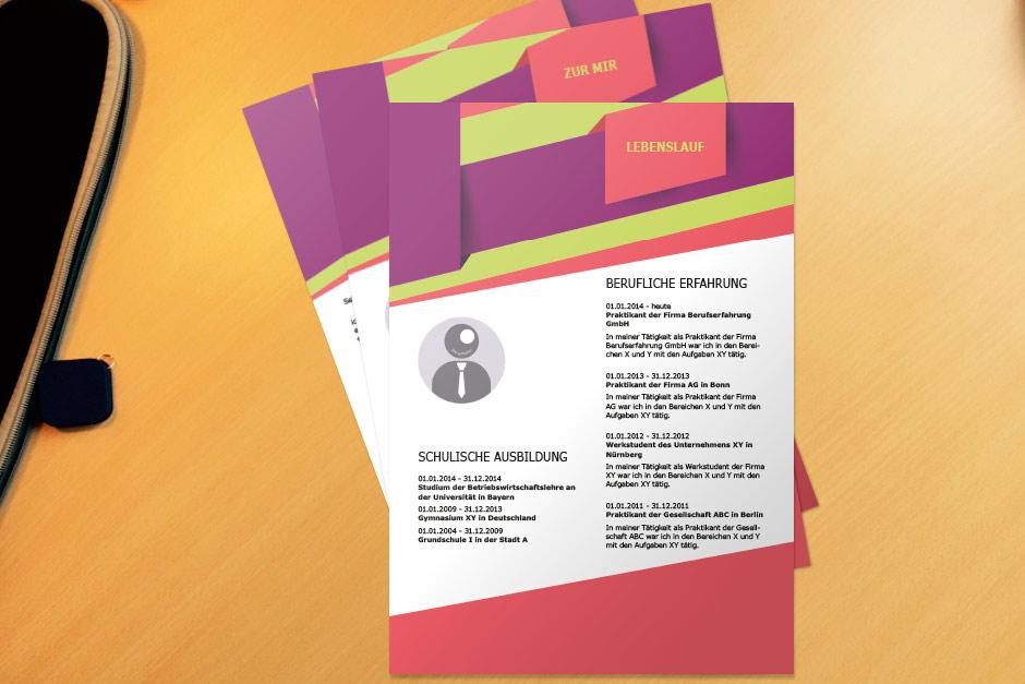 Bewerbungsvorlage Purple Folded
