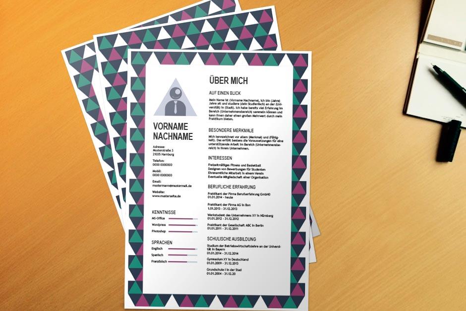 Bewerbungsvorlage Purple Schoolbook