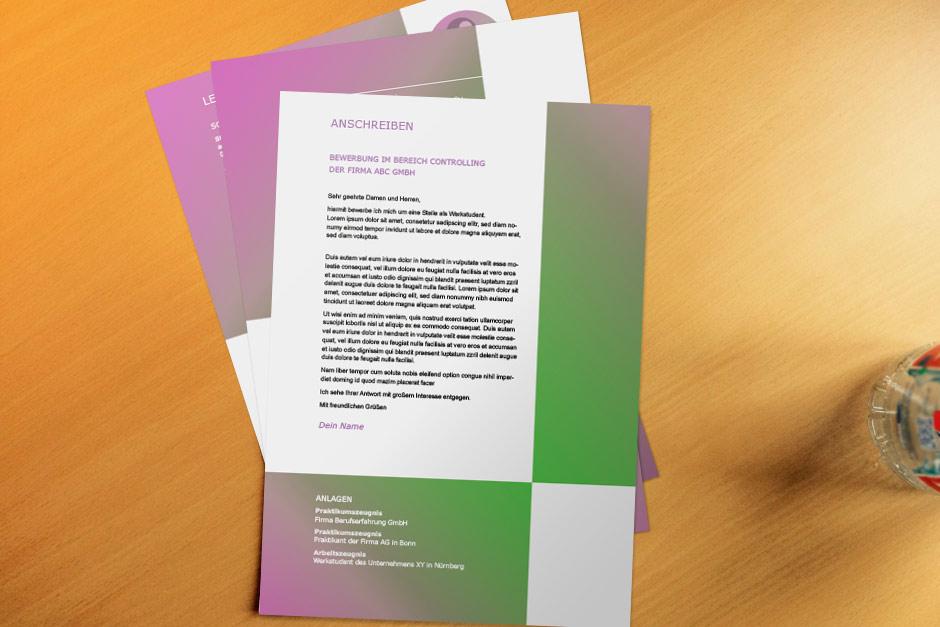 Bewerbungsvorlage Swoosh Green Violett