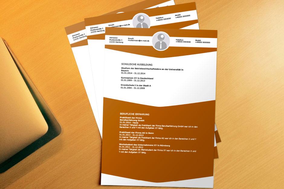 Bewerbungsvorlage Office Classic Brown