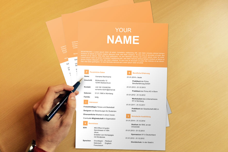 Bewerbungsvorlage YourName Orange